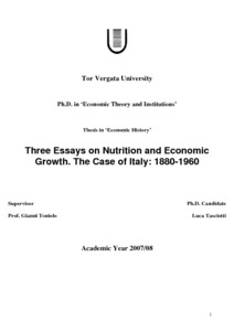 Three Essays On Nutrition And Economic Growth The Case Of Italy Preview