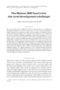 The Malawi 2002 food crisis: the rural development challenge ...